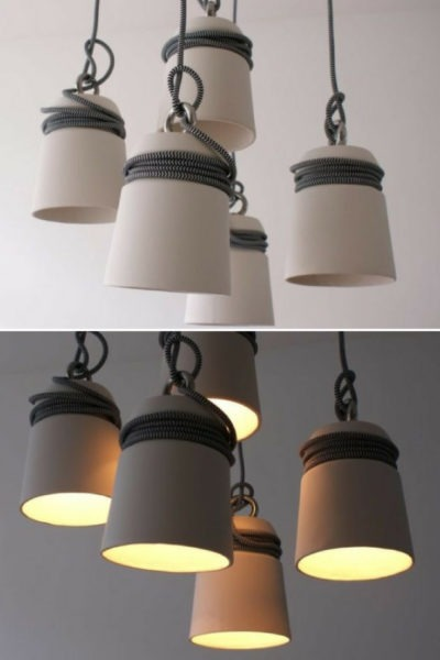 Ceramic and Steel Cable Pendant Lighting