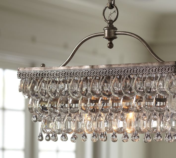 Clarissa Rectangular Glass Drop Chandelier - restaurant-bar, chandeliers