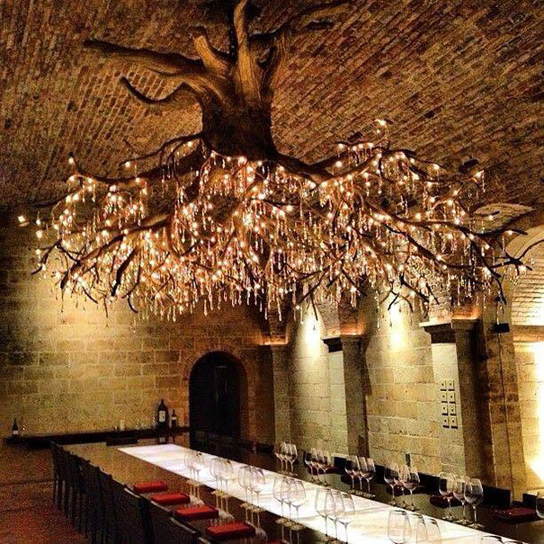 Giant Chandelier Tree - wood-lamps, restaurant-bar, chandeliers