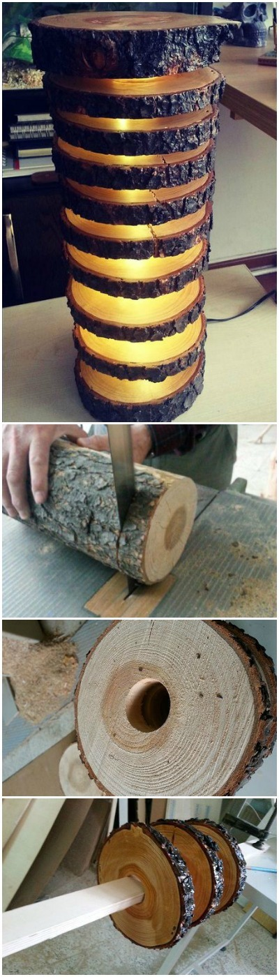 How to Make a Spectacular Floor Lamp with Logs - wood-lamps, floor-lamps
