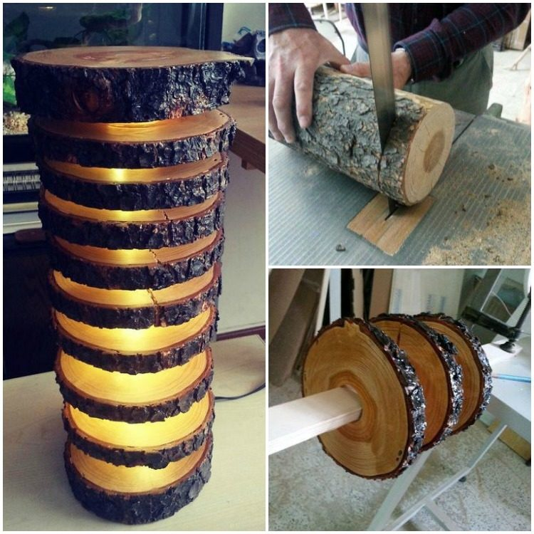 How to make a spectacular lamp with logs