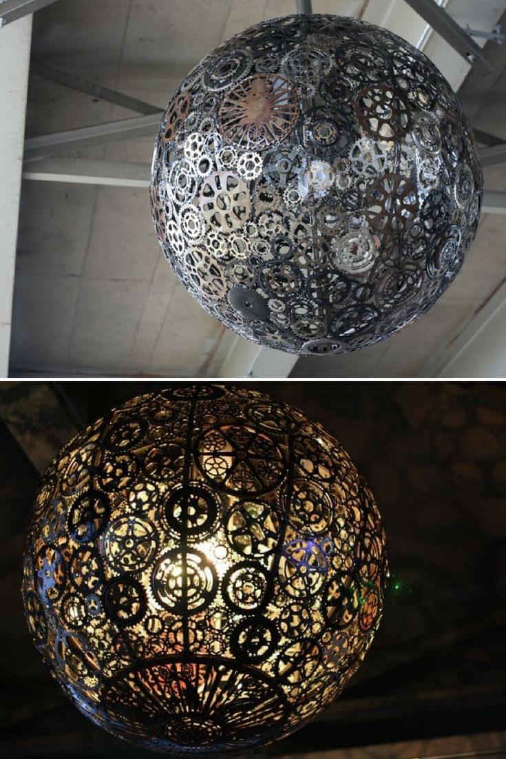 Incredible Recycled Bike Parts Chandelier - pendant-lighting
