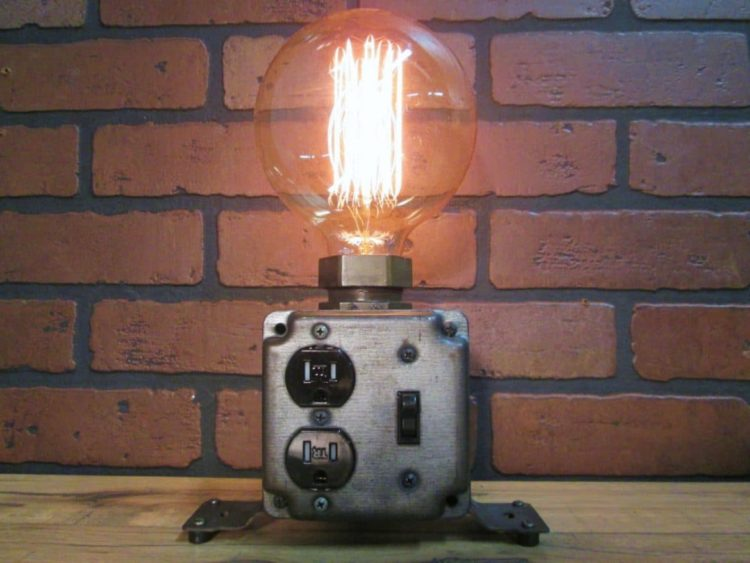 Industrial Table Lamp Plug Charging Station - table-lamps