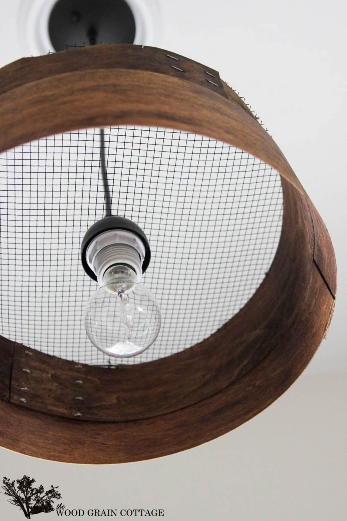 Grain Sieve Wood Light Fixture Chandelier Tutorial Id Lights
