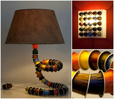 Look what you can make with old Nespresso caps: Lamp
