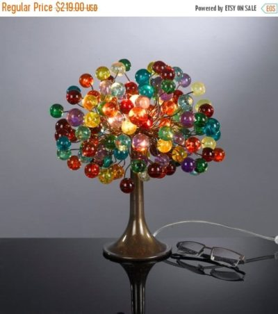Multicolored Bubble Table Lamp with Metal Wires