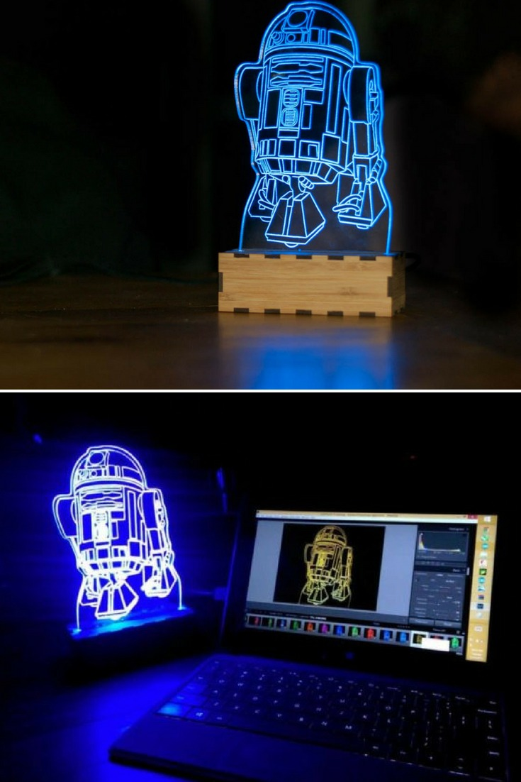 Cute Star Wars lamp, R2-D2 or Artoo-Detoo is a fictional robot character in the Star Wars universe, The lamp produces a soft glow LED highlighting. He is 16cm (6\