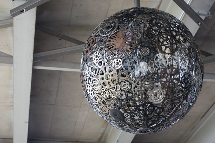 Incredible Recycled Bike Parts Chandelier - pendant-lighting