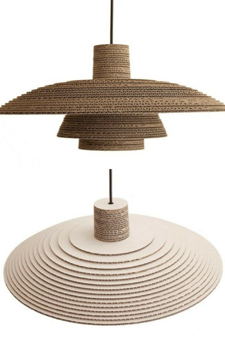 Recycled Cardboard Chandelier - pendant-lighting