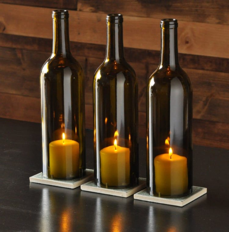 Easy table lamp crafts for christmas candle in a wine for How to cut the bottom off a wine bottle easily