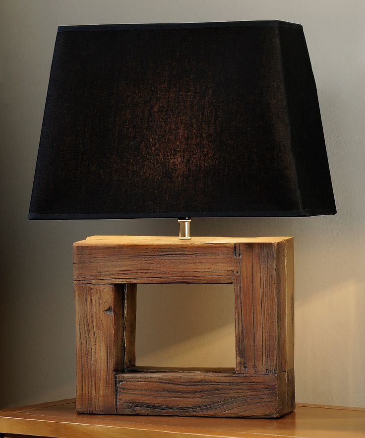 Giftcraft Rectangular Frame Wood Table Lamp Id Lights
