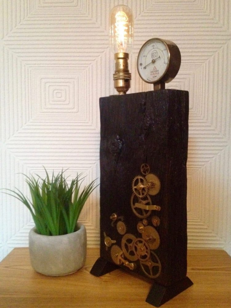 Edison Steampunk Rustic Antique Table Lamp - wood-lamps, table-lamps