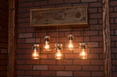 Mason Jar Fixture With Reclaimed Wood and 5 Pendants