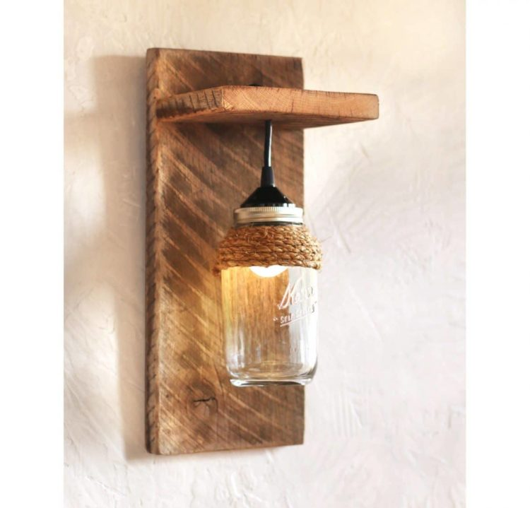 Mason Jar Farmhouse Wall Sconce Wall Lamps & Sconces Wood Lamps