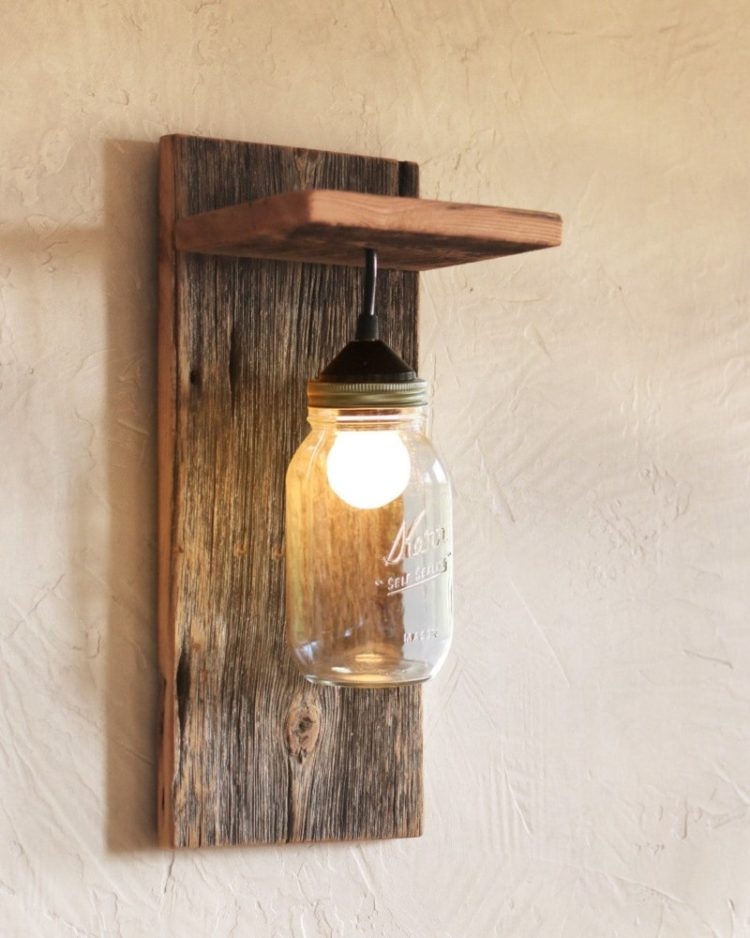 Mason jar farmhouse wall sconce id lights for Appliques murales bois