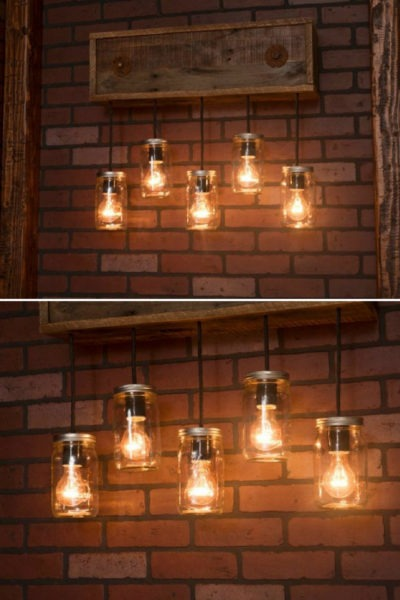 Mason Jar Wall Sconce With Reclaimed Wood Pendants