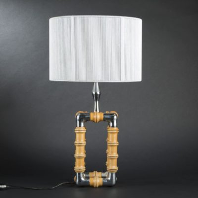 Metal and Natural Wood simulating Bamboo lamp