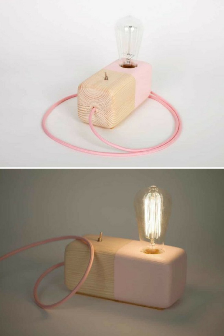 Wood Modern Handmade Table Lamp Edison Style Geometric Wood Block Pink. Perfect gift! Handcrafted wood block half painted Pink with a metallic switch on/off. Industrial style for every house!! #edison #handmadelighting #industrial #lamp #lighting #lightingdesign #metallic #modernlighting #tablelamp #woodlamp #woodworking