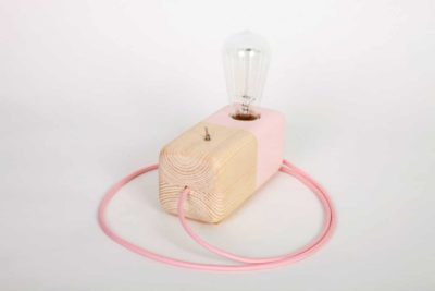 Pink Wood Block Handmade Table Lamp