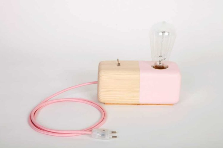 Pink Wood Block Handmade Table Lamp - wood-lamps, table-lamps