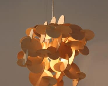 Sculptural Wood Hanging Lamp