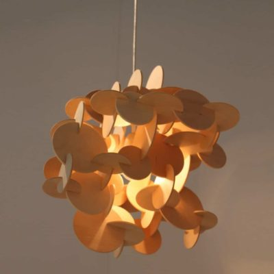 Sculptural Wood Hanging Lamp