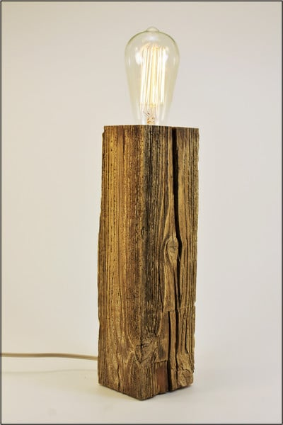Shabby Chic Reclaimed Wood Table Lamp (Natural Driftwood) Table Lamps Wood Lamps