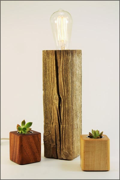 Shabby Chic Reclaimed Wood Table Lamp (Natural Driftwood) - wood-lamps, table-lamps