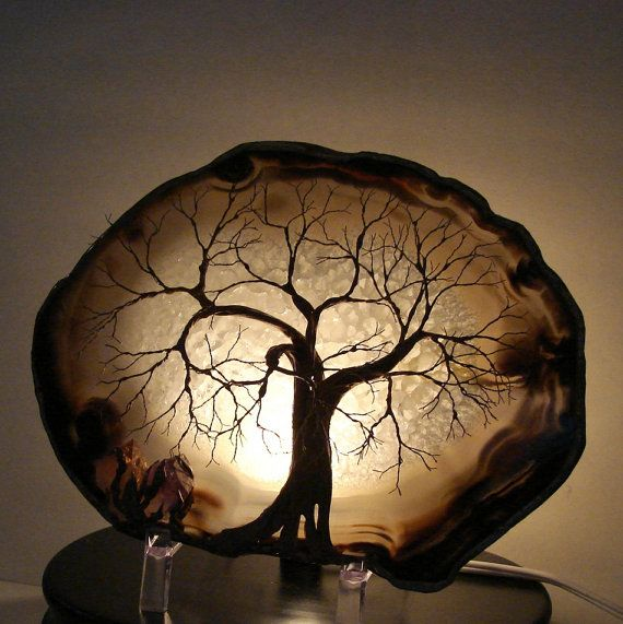 Wire Tree Of Life Spirit Table Lamp - wood-lamps, table-lamps