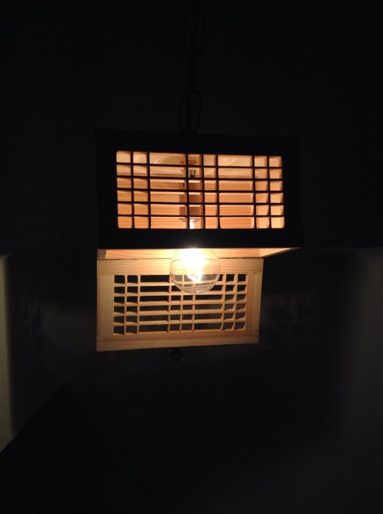 Wooden Rectangular Pendant Lighting Shade - wood-lamps, pendant-lighting
