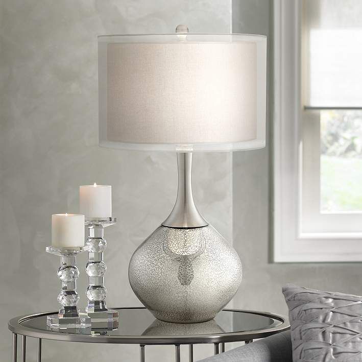 Possini Modern Mercury Glass Table Lamp   Table Lamps