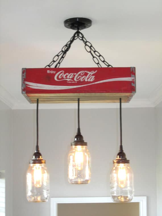 Recycled Coca Cola Woodcase Chandelier Id Lights