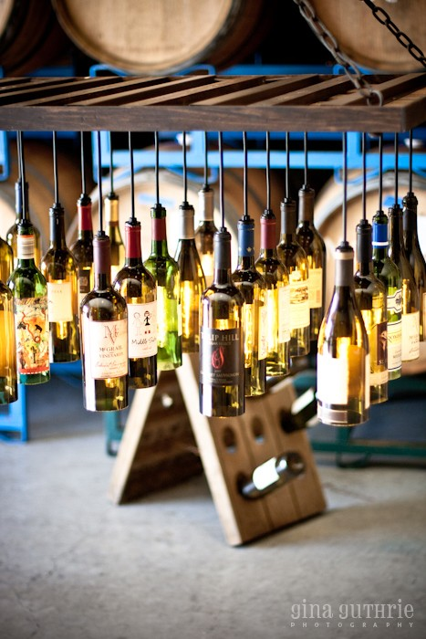30 Wine Bottle Light Chandelier Hanging from Wood Rack - wood-lamps, pendant-lighting