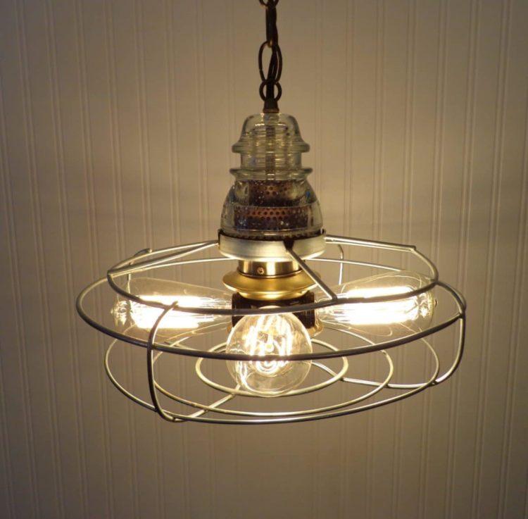 Early 1900's Chrome & Iron Vintage Fan Chandelier Pendant Lighting - pendant-lighting