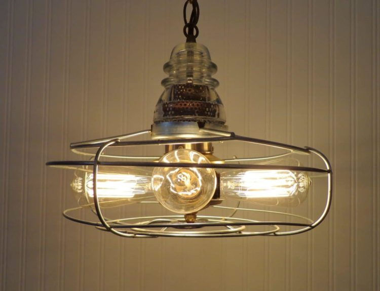 Early 1900's Chrome & Iron Vintage Fan Chandelier Pendant Lighting Pendant Lighting