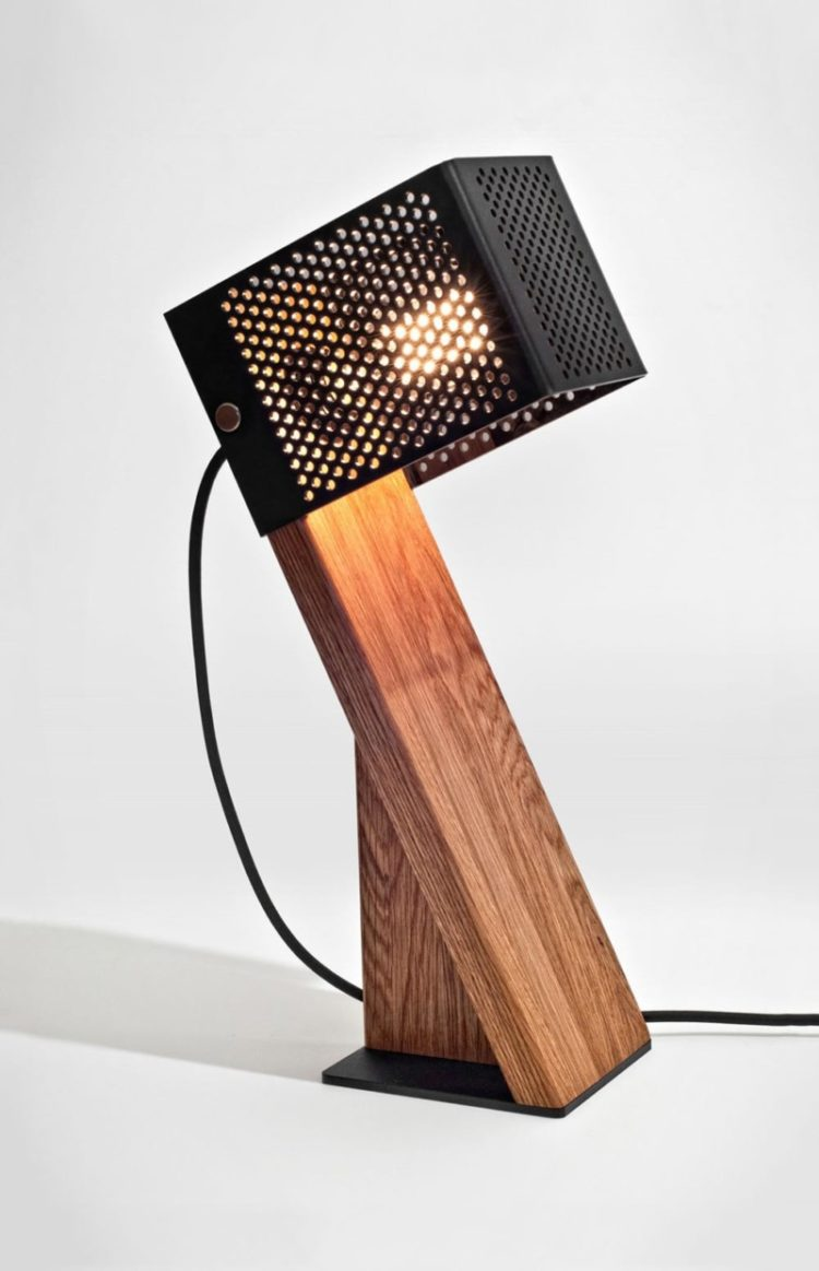 handcrafted oblic wood table lamp id lights. Black Bedroom Furniture Sets. Home Design Ideas