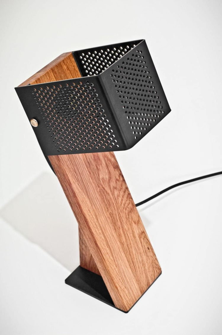 Handcrafted Oblic Wood Table Lamp