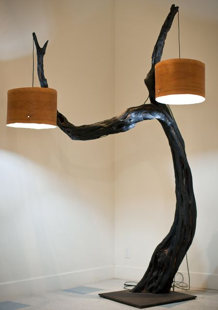 Huge Floor Lamp with Tree Base - wood-lamps, restaurant-bar, floor-lamps
