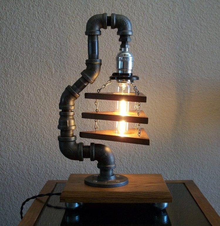 Industrial art diy pipe lamp id lights for Painting black iron pipe