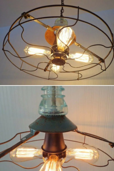 Industrial Vintage Fan Chandelier with Edison Filament Bulbs