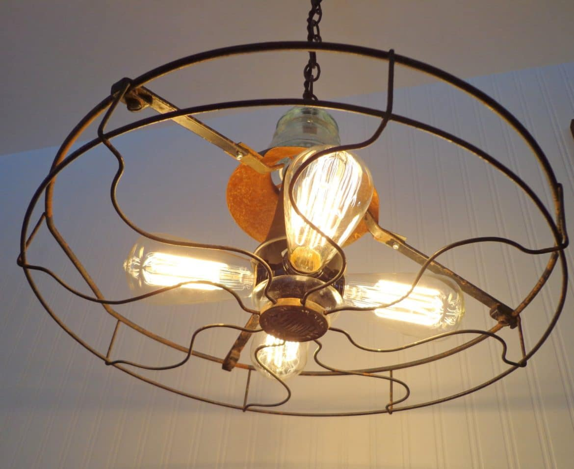 Industrial Vintage Fan Chandelier With Edison Filament