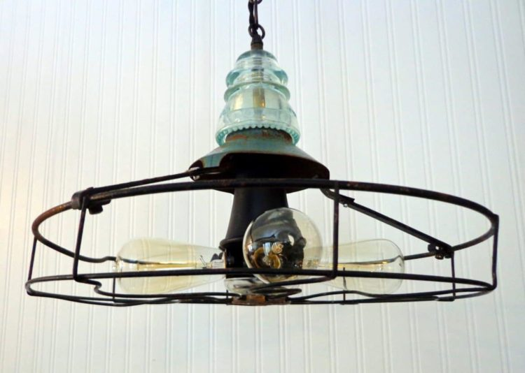 Industrial Vintage Fan Light with Edison Filament Bulbs