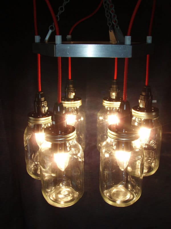 Red & Metal Mason jar Chandelier Pendant Lighting