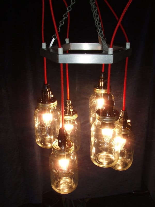 Metal Mason jar Chandelier