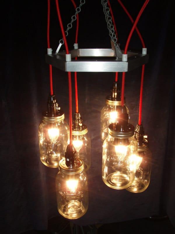 Red & Metal Mason jar Chandelier - pendant-lighting