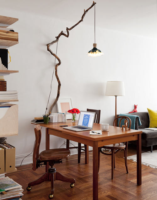 Personal Workspace/Dining Table with Simple Wood Wall Sconce - wood-lamps, wall-lights-sconces