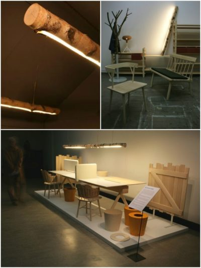 Raw Wood Beam Light Fixture from Sweden