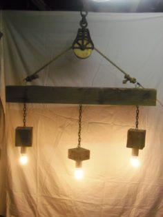 Beam Wood Light Fixture And Pulley Pendant Light Id Lights