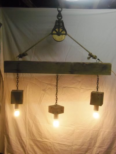 Reclaimed Barn Beam and Pulley Chandelier