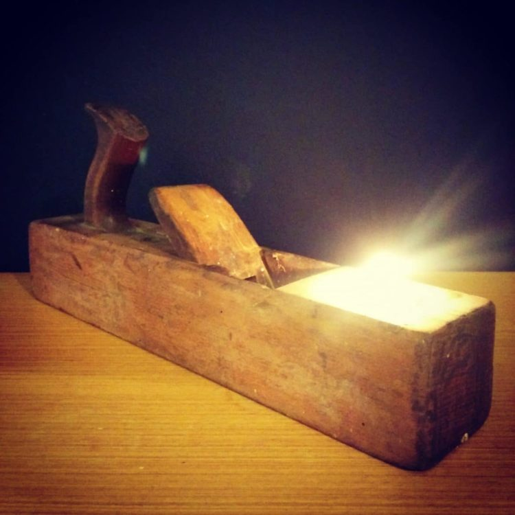 Rustic Vintage Lamp With Wooden Plane Tealight Holder Id